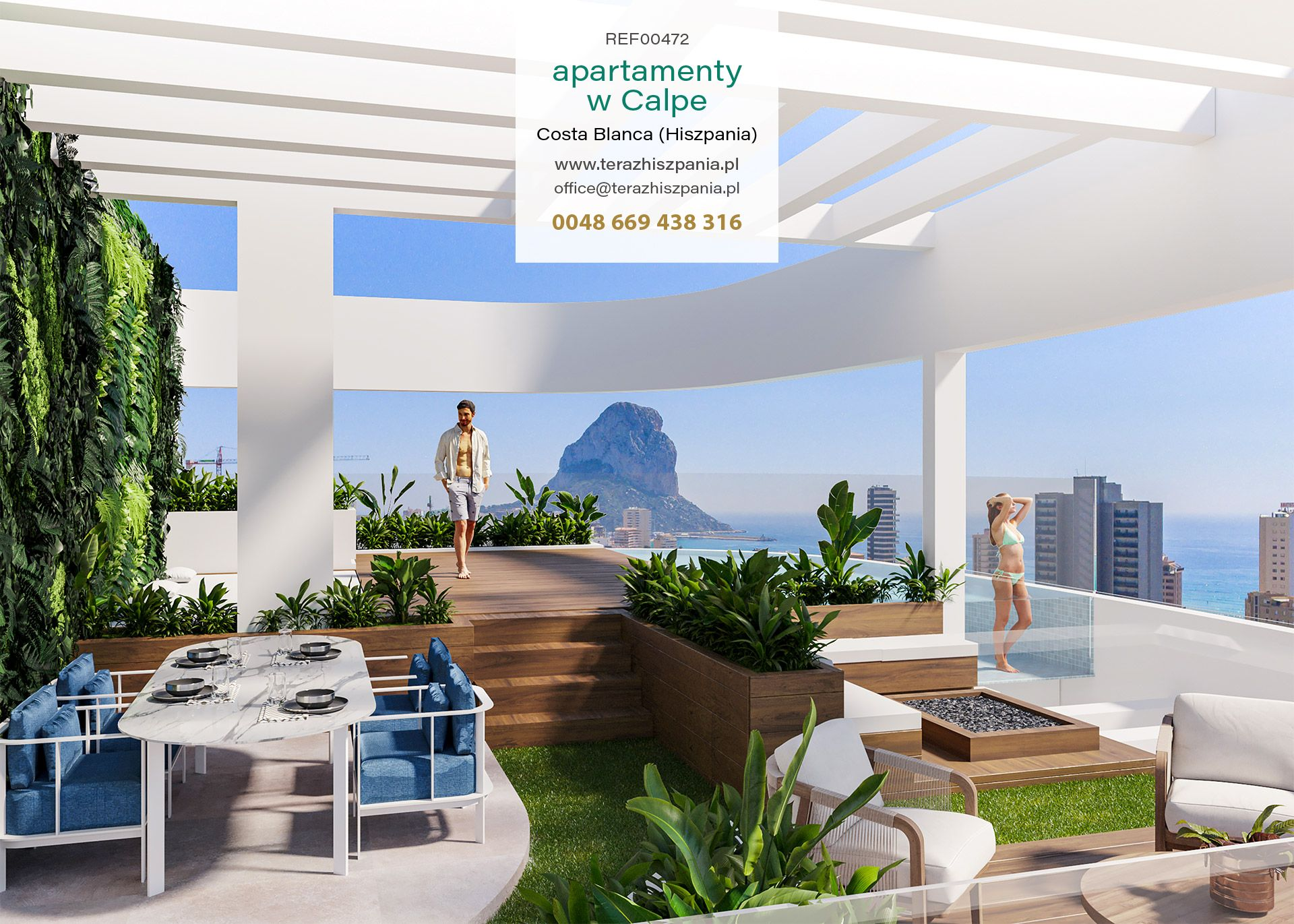 REF00472 Nowe apartamenty na sprzedaż w Hiszpanii, miejscowość Calpe na wybrzeżu Costa Blanca.